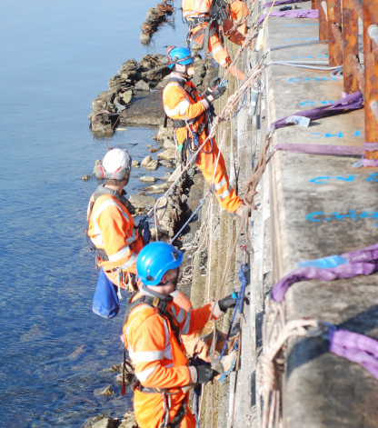 Rope change abseil
