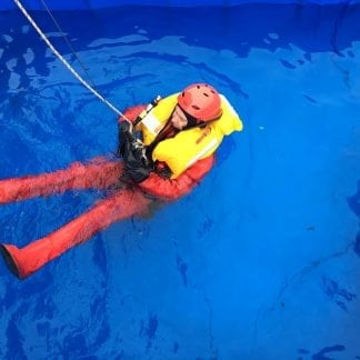 Sea survival course training in swimming pool